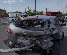 A Semi-Truck hit a small hatchback car in League City Texas