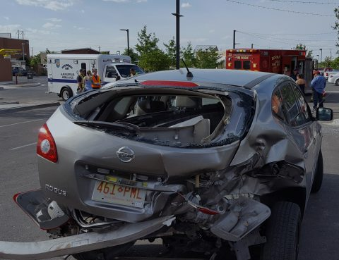 A Semi-Truck hit a small hatchback car in League City Texas